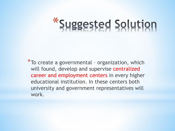 To create a governmental – organization, which will found, develop and supervise