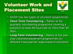 volunteer work and placement sites