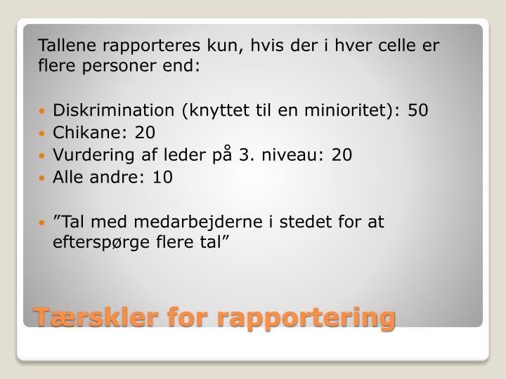 Tallene rapporteres kun, hvis der i hver celle er flere personer end: