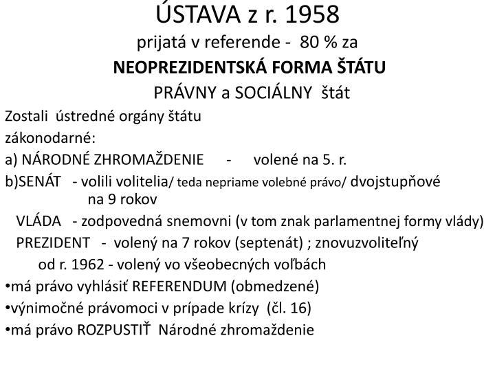 ÚSTAVA zr. 1958