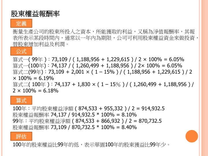 股東權益報酬率