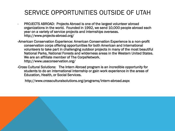 Service opportunities outside of utah