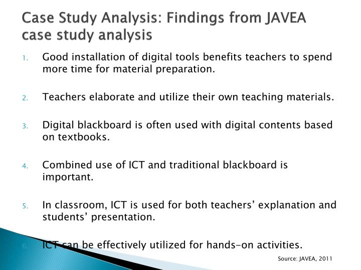Case Study Analysis: Findings from JAVEA case study analysis