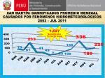 san mart n damnificados promedio mensual causados por fen menos hidrometeorol gicos 2003 jul 2011