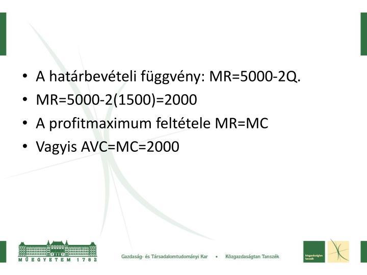 A határbevételi függvény: MR=5000-2Q.