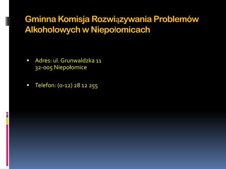 Gminna Komisja Rozwiązywania Problemów Alkoholowych w Niepołomicach