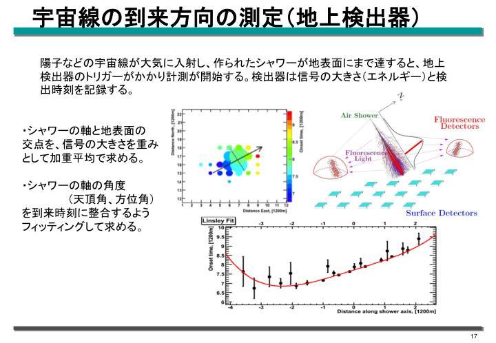 宇宙線の到来方向の測定(地上検出器)