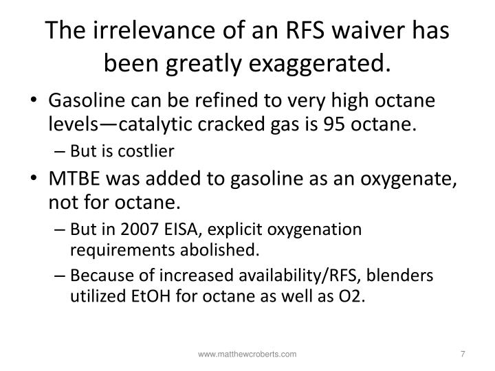 The irrelevance of an RFS waiver has been greatly exaggerated.