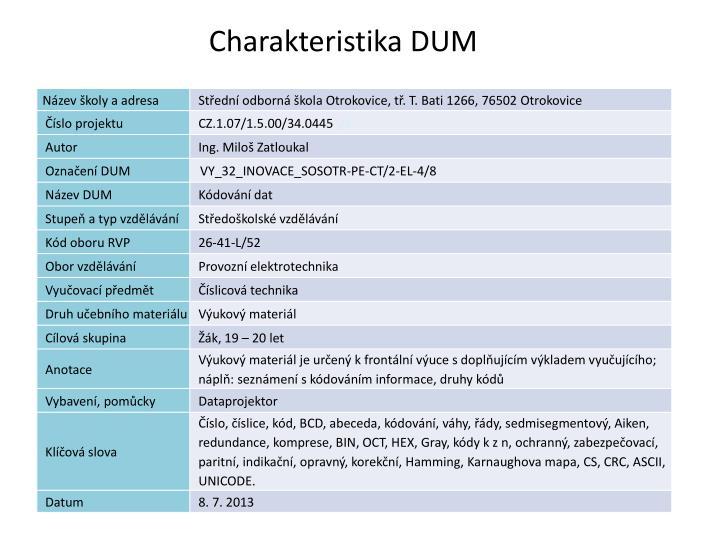 Charakteristika dum 2