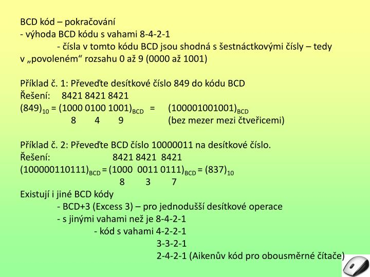 BCD kód – pokračování