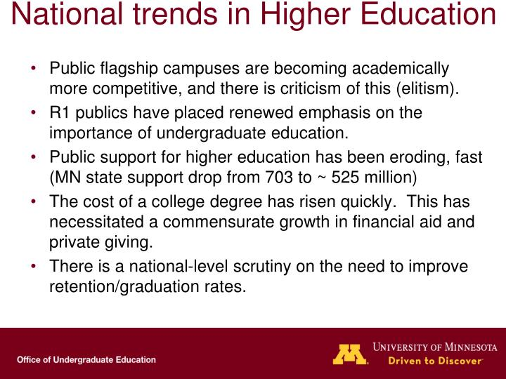 National trends in higher education