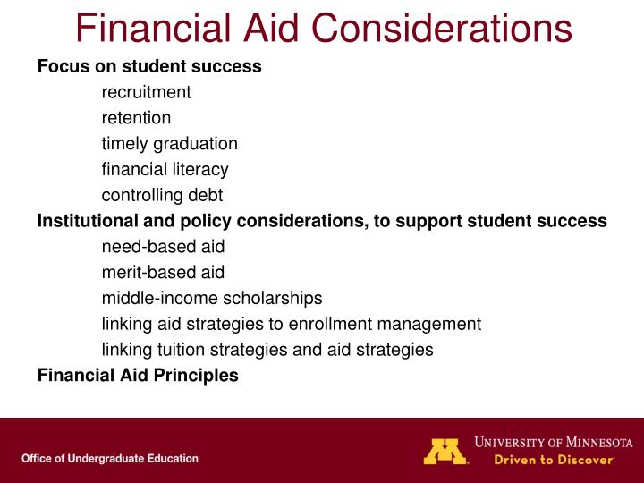 Financial Aid Considerations