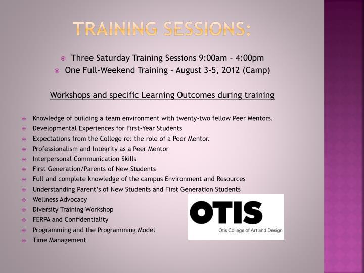 Training sessions: