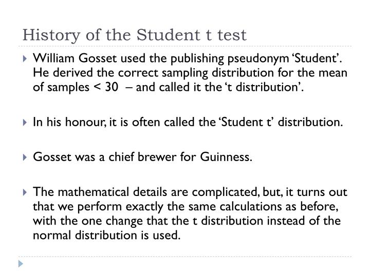 History of the Student t test