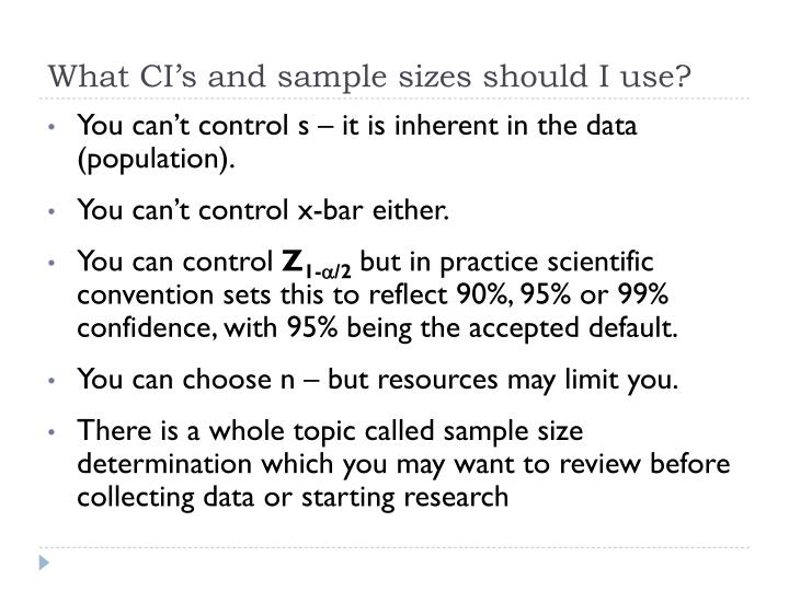 What CI's and sample sizes should I use?