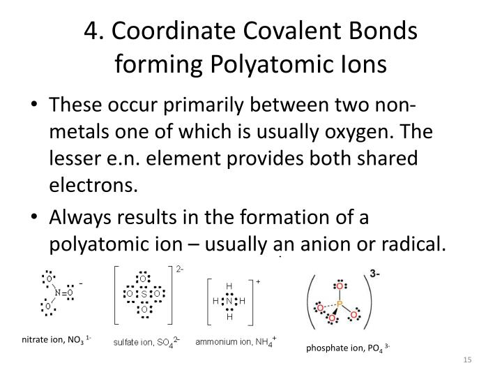 4. Coordinate Covalent Bonds
