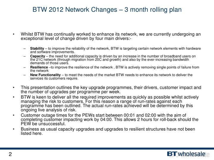 Btw 2012 network changes 3 month rolling plan