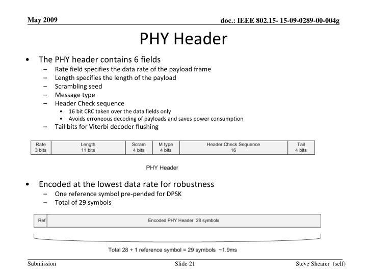 PHY Header