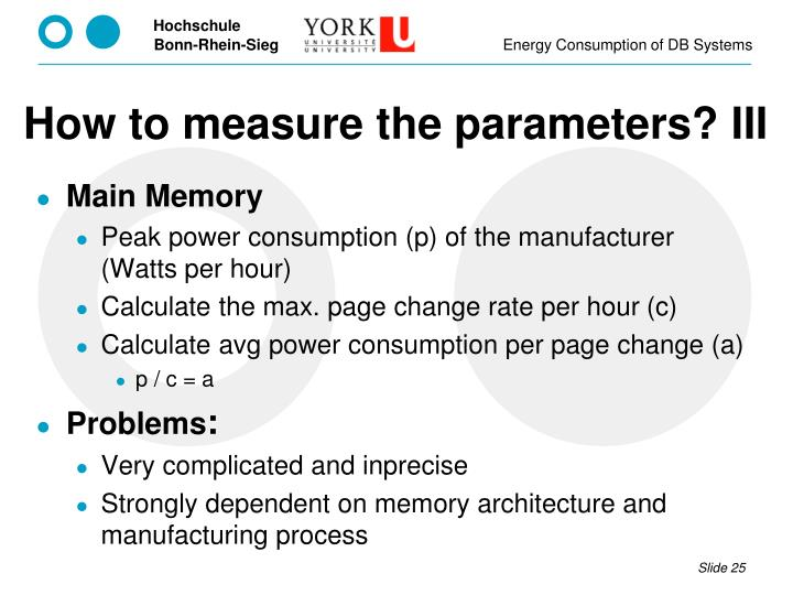 How to measure the parameters? III
