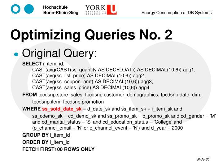 Optimizing Queries No.