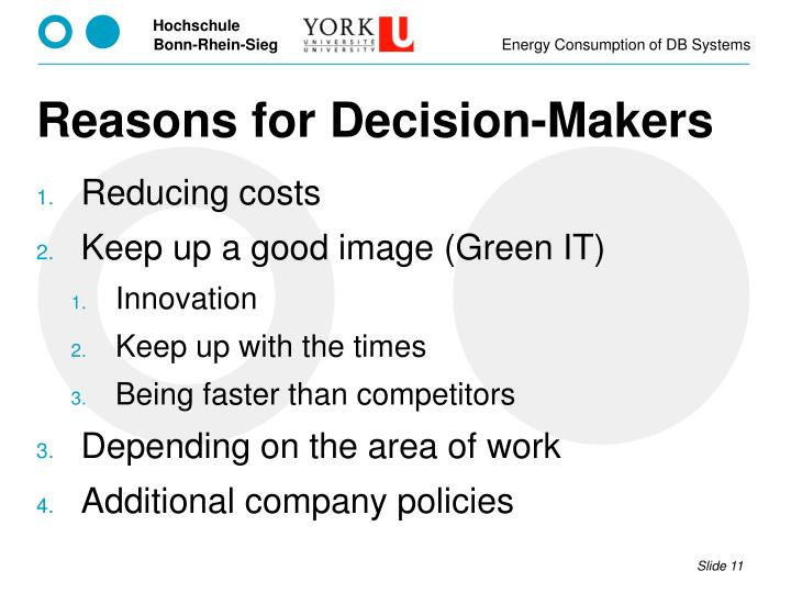 Reasons for Decision-Makers