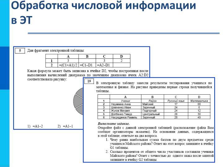 Обработка числовой информации