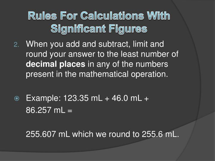 Rules For Calculations With Significant Figures