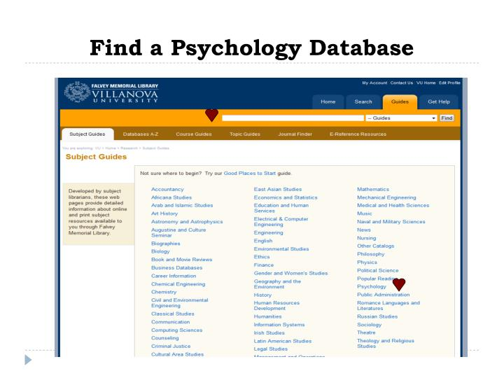 Find a Psychology Database