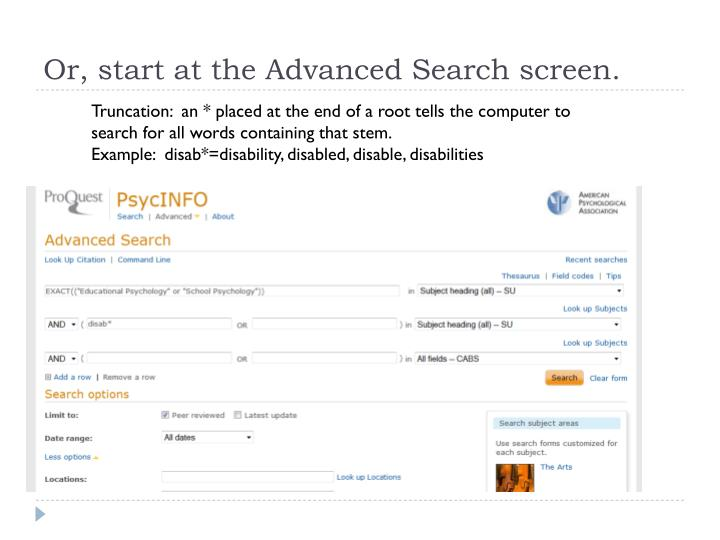 Or, start at the Advanced Search screen.