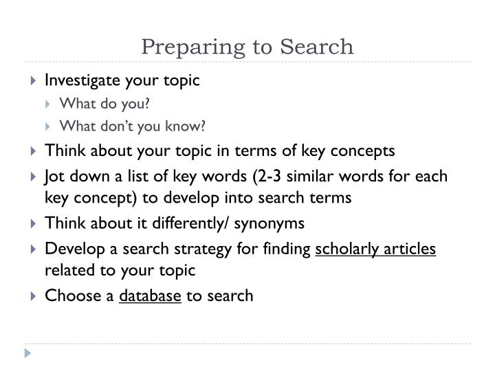 Preparing to Search