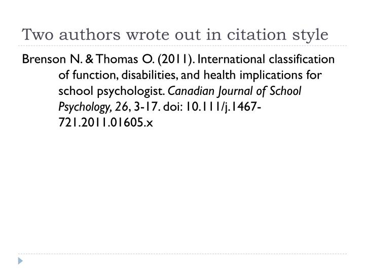 Two authors wrote out in citation style