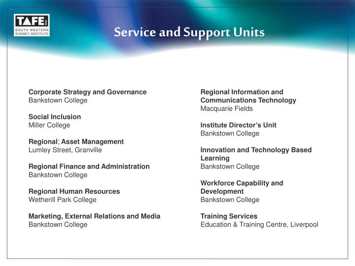 Service and Support Units