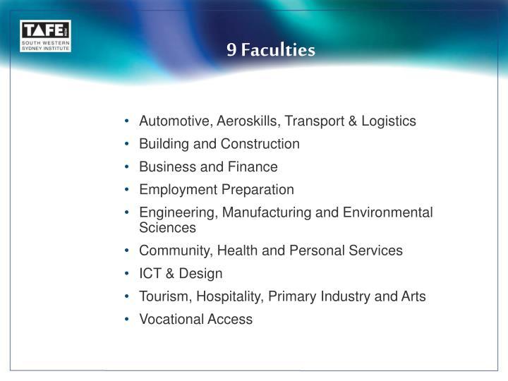 9 Faculties
