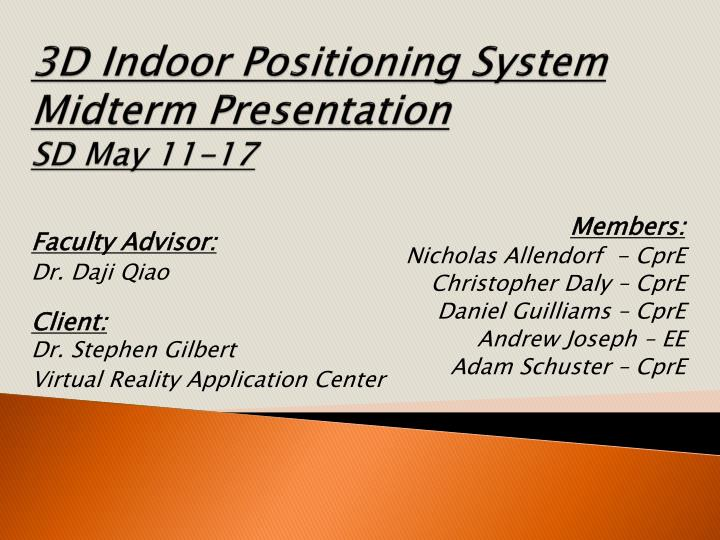 3d indoor positioning system midterm presentation sd may 11 17 n.