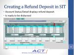 creating a refund deposit in sit15