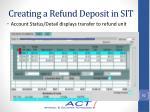 creating a refund deposit in sit9