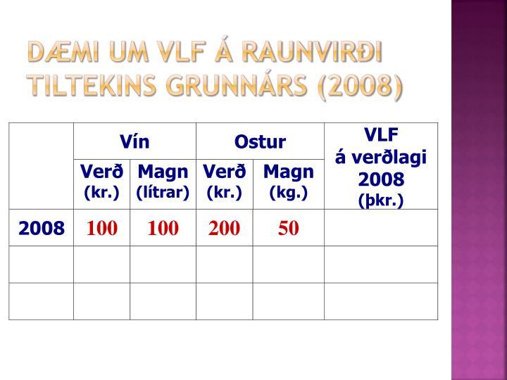 Dæmi um VLF á raunvirði tiltekins grunnárs (