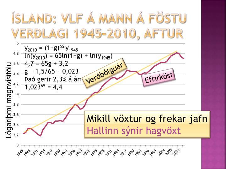 ísland: vlf á mann á föstu verðlagi