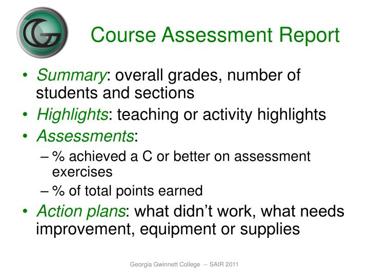 Course Assessment Report