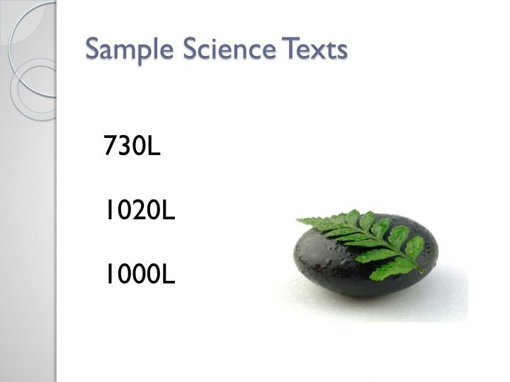 Sample Science Texts