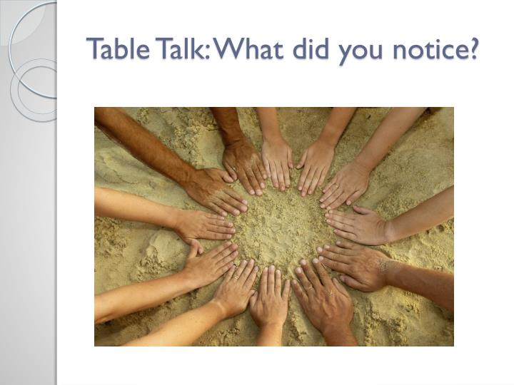 Table Talk: What did you notice?