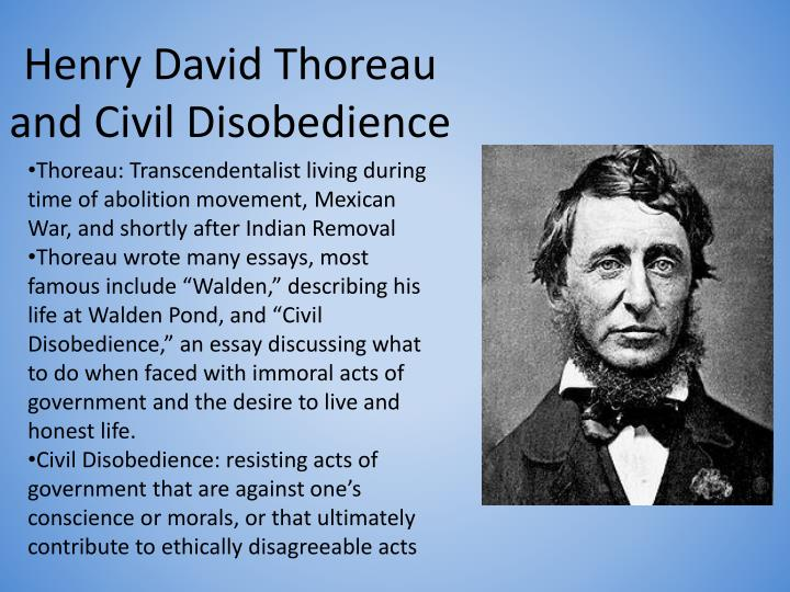 essays about civil disobedience by thoreau In thoreau's essay, civil disobedience, he exhorts the need to prioritize social consciousness over the unquestioning allegiance to government policy.