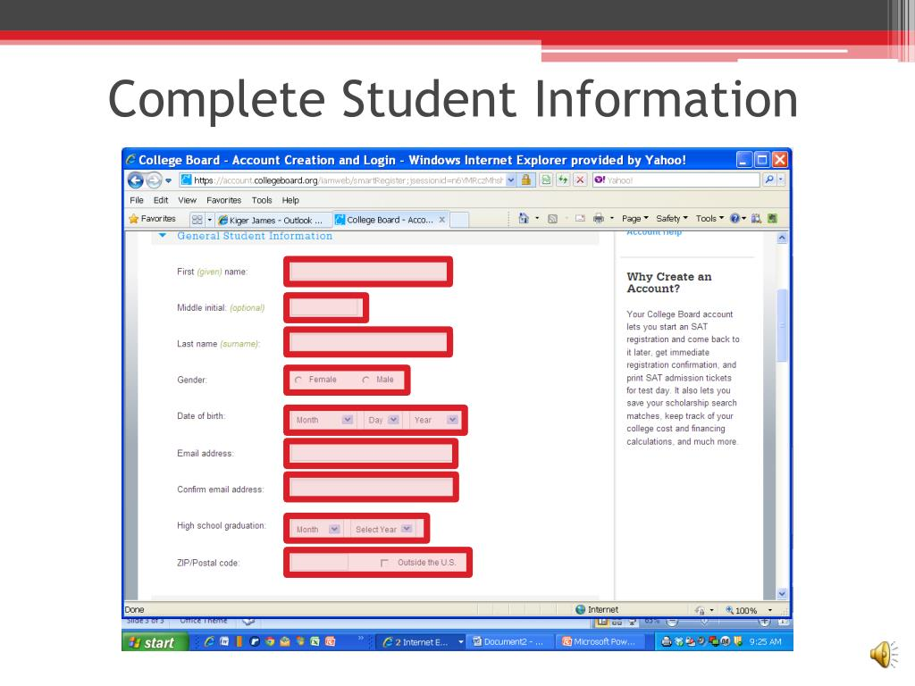PPT - How to register at College Board PowerPoint