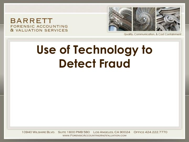 use of technology to detect fraud n.