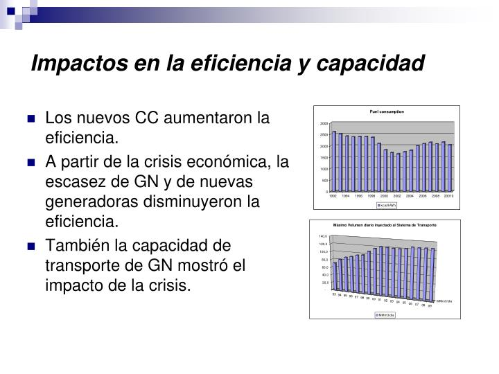 Impactos en la eficiencia y capacidad