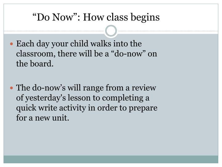 """Do Now"": How class begins"