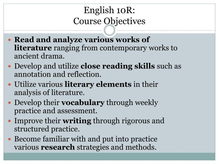 English 10r course objectives