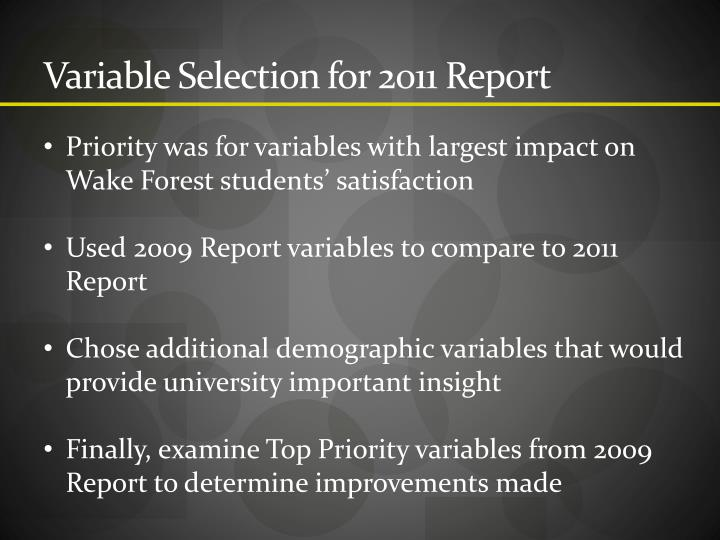 Variable Selection for 2011 Report