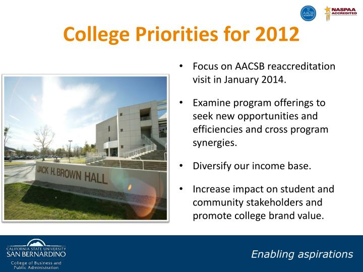 College Priorities for 2012