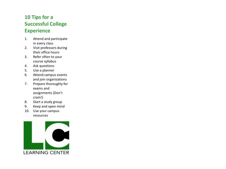 10 Tips for a Successful College Experience